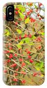 Wild Red Berrie Bush With Birds - Digital Paint IPhone Case
