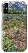 Wildflowers Bloom Below Teton Mountain  Range IPhone Case