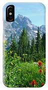 1m9372-v-wildflowers In Cascade Canyon, Tetons IPhone Case