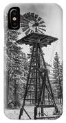 Windmill In The Snow Black And White IPhone Case