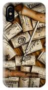 Wine Corks On A Wooden Barrel IPhone Case