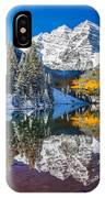 winter and Fall foliage at Maroon Bells IPhone Case