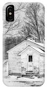 Winter At The Amish Schoolhouse - Bw IPhone Case