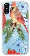 Winter Blue Cardinals-peace Card IPhone Case