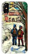 Winter Scene Painting Rows Of Snow Covered Cars First School Day After Christmas Break Montreal Art IPhone Case