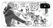 Winter Suited Volunteers Hold Out Dog Dishes IPhone Case