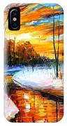 Winter Sunset - Palette Knife Oil Painting On Canvas By Leonid Afremov IPhone Case