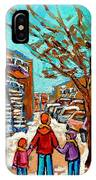 Winter Walk Montreal Paintings Snowy Day In Verdun Montreal Art Carole Spandau IPhone Case