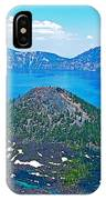 Wizard Island From Watchman Overlook In Crater Lake National Park-oregon  IPhone Case