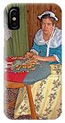 Woman Making Lace In Louisbourg Living History Museum-1744-ns IPhone Case