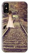 Woman On Railway Line IPhone Case