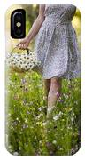 Woman Picking Flowers In A Wild Flower Meadow IPhone Case