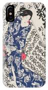 Woman Surrounded By Calligraphy IPhone Case