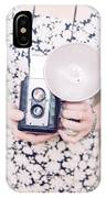 Woman With Vintage Camera IPhone Case