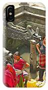Women Get Bagmati River Holy Water From Ornate Fountains In Patan Durbar Square In Lalitpur-nepal  IPhone Case