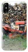 Wood Pile And Lawn Tractor IPhone Case