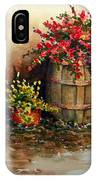 Wooden Barrel With Flowers IPhone Case