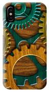 Wooden Gears On Wood Grain Texture Background IPhone Case