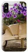 Wooden Wheelbarrow Full Of Flowers IPhone Case