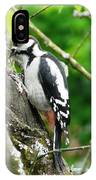 Woodpecker Swallowing A Cherry  IPhone Case