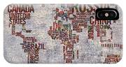 World Map Typography Artwork IPhone Case