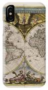 World Map 1664 Ad With Small Matching Border IPhone Case