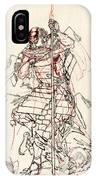 Wounded Samurai Drinking Sake C. 1870 IPhone Case