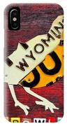 Wyoming Meadowlark Wild Bird Vintage Recycled License Plate Art IPhone Case