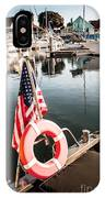Yacht With American Flag At The Pier  IPhone Case