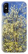 Yellow And Blue - Blooming Tree In Spring IPhone Case