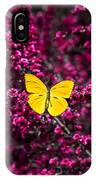 Yellow Butterfly On Red Flowering Bush IPhone Case