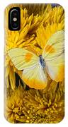 Yellow Butterfly On Yellow Mums IPhone Case