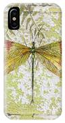 Yellow Dragonfly On Vintage Tin IPhone Case