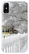 Yellow House With Snow Covered Picket Fence IPhone Case