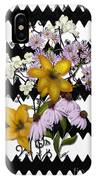 Yellow Lilies On Black And White Zigzag IPhone Case