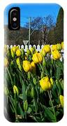 Yellow Tulips Before White Picket Fence IPhone Case