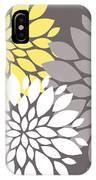 Yellow White Grey Peony Flowers IPhone Case
