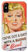 You Ve Got A Date With A Bond Poster Advertising Victory Bonds  IPhone Case