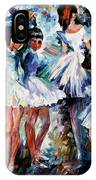 Young Ballerinas - Palette Knife Oil Painting On Canvas By Leonid Afremov IPhone Case