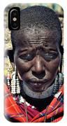 Portrait Of Young Maasai Woman At Ngorongoro Conservation Tanzania IPhone Case