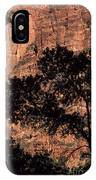 Zion National Park Canyon Walls With Silhouetted Trees In Front  IPhone Case