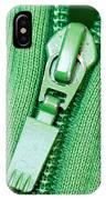Zipper Of A Green Sweater IPhone Case