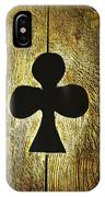 Clover Shape Cut Out Of Wooden Door IPhone Case