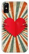Heart And Cupid With Ray Background IPhone Case