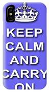 Keep Calm And Carry On Poster Print Blue Background IPhone Case