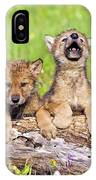 Wolf Cubs On Log IPhone Case