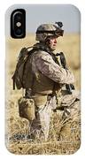 U.s. Marine Patrols A Wadi Near Kunduz IPhone Case