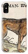 1560 Gesner European Wolf Canis Lupus IPhone Case