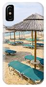 Beach Umbrellas On Sandy Seashore IPhone Case
