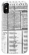 Louis Xvi: Execution, 1793 IPhone Case